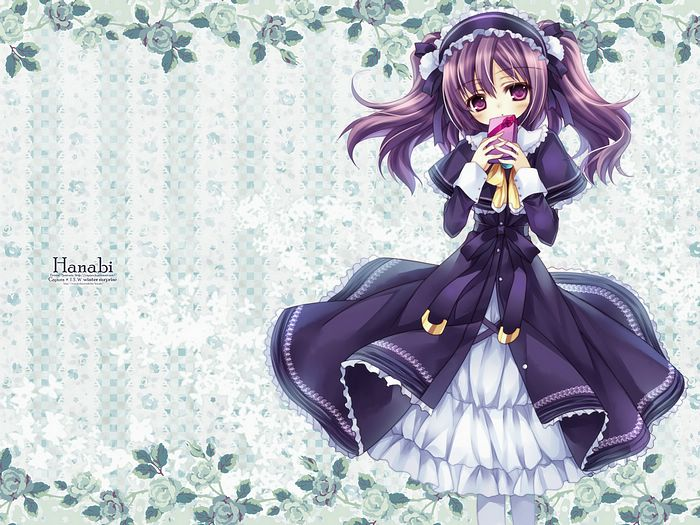 Anime Characters Japanese : Purple haired anime manga girls wallpaper
