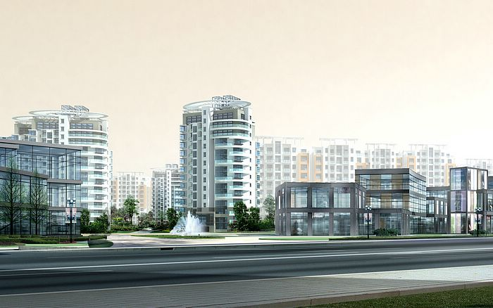 Architectural Rendering Of Residential Buildings Wallpaper