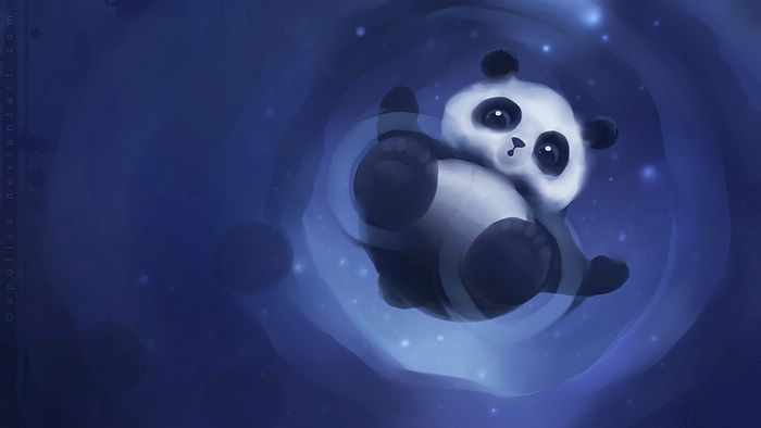 cute panda painting wallpaper - photo #2