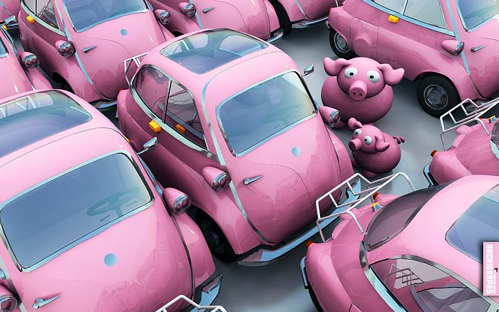Creative 3D Animal Characters - Cute 3D Pigs - We are so getting this car Wallpaper