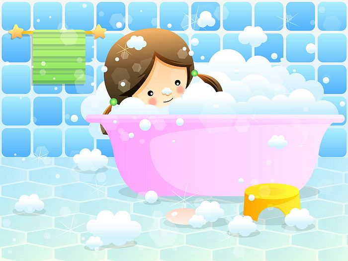 Great  for Children's Day :Children's illustration - Cute Girl in Bubble Bath 700 x 525 · 48 kB · jpeg