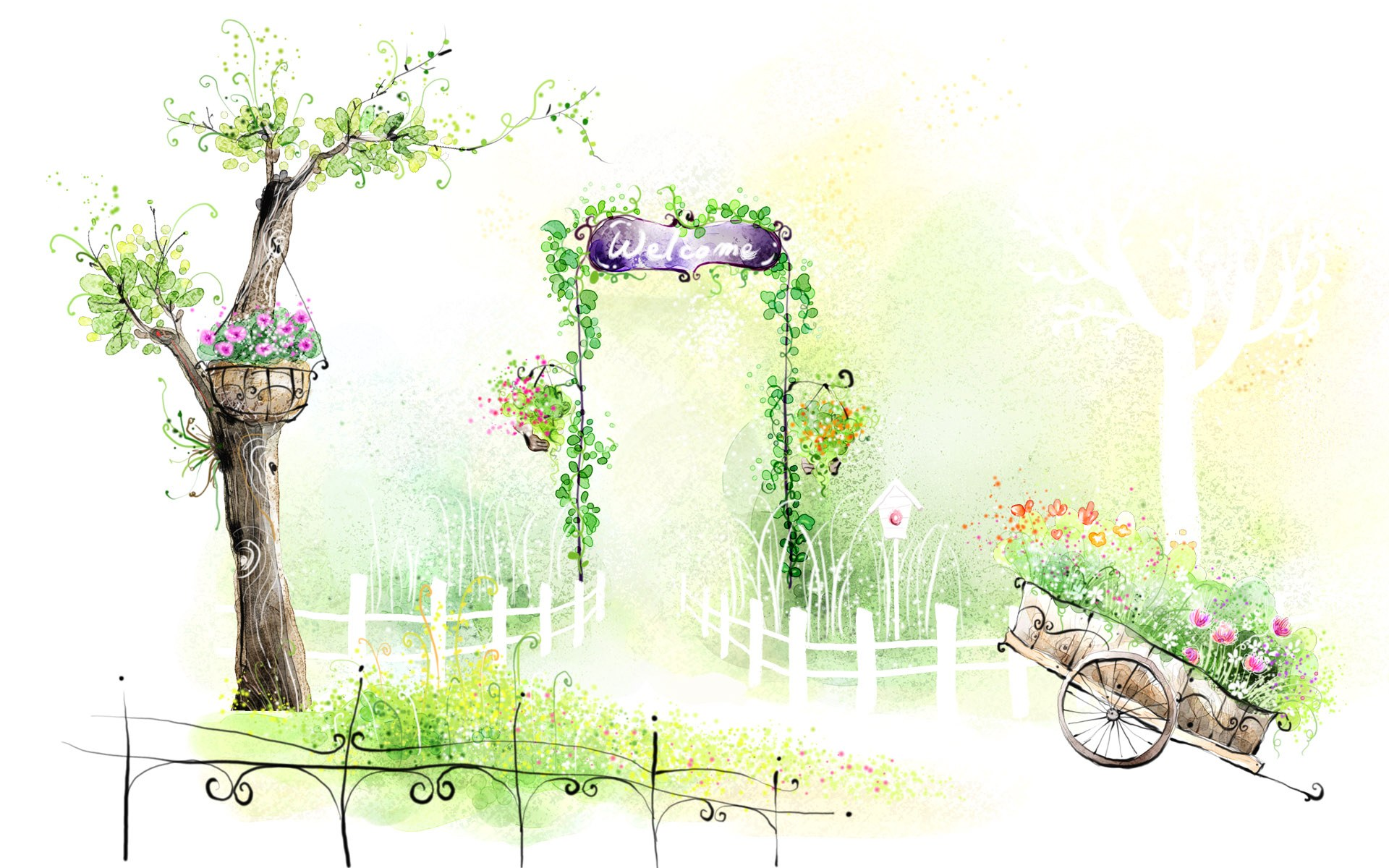 Art drawing romantic scene of the seasons 1920x1200 for My garden 3d