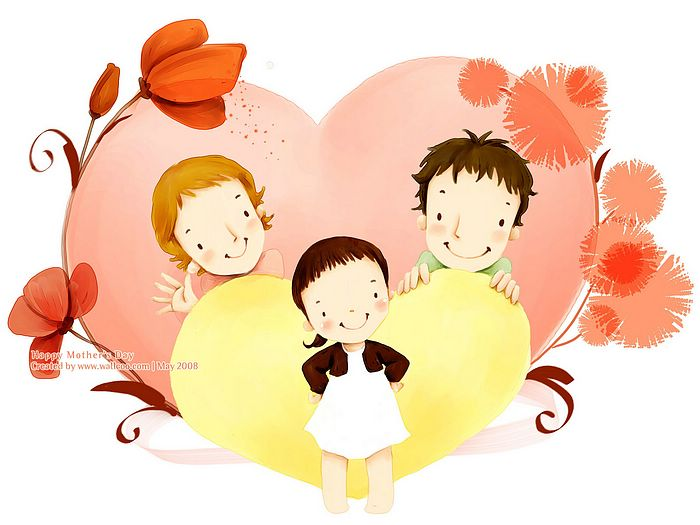 1600*1200  Children's illustration of Mother Day and Family Love - 1680*1050 Happy family love -  Lovely Art illustration for Mother's day15