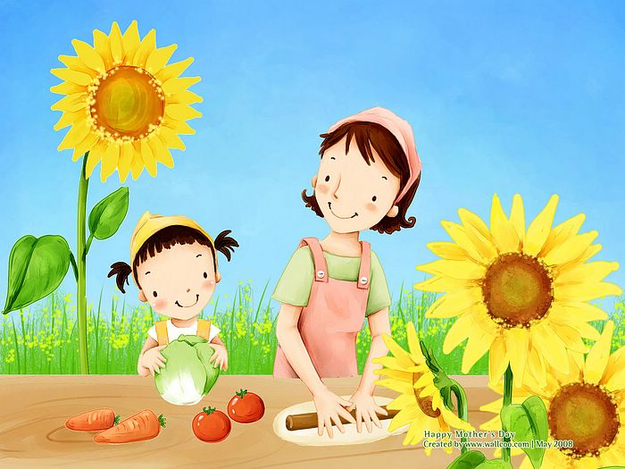 Cartoon Mother's Day Moms and Daughters