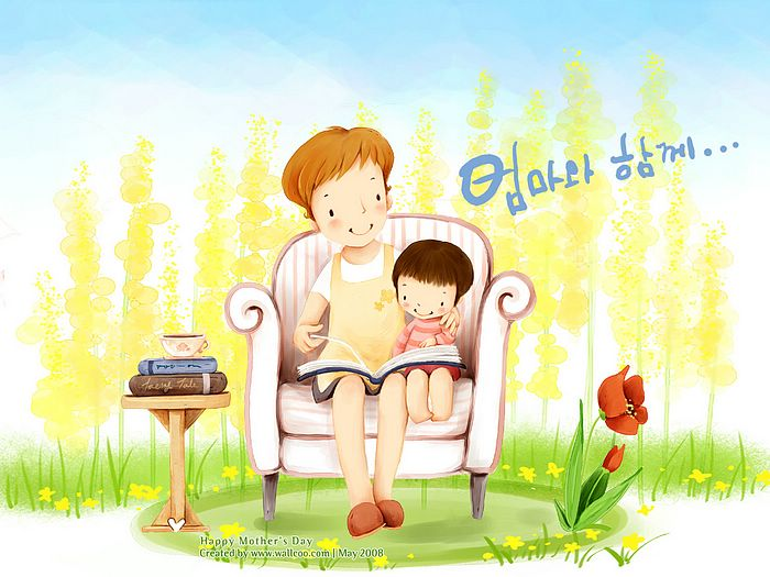 Mom and Little Girl reading a book together, Lovely Cartoon illustration