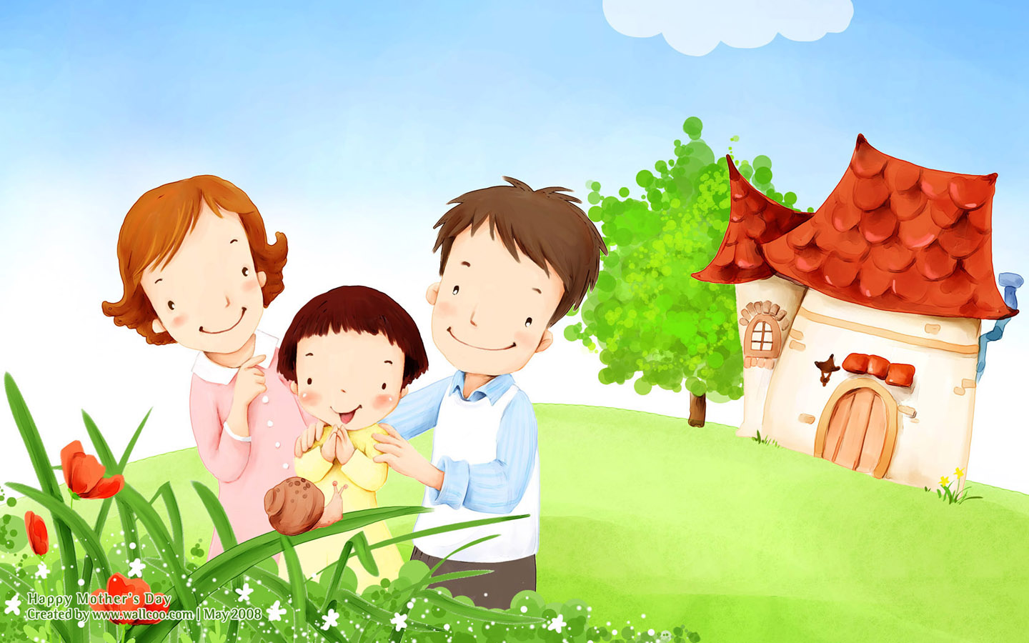 Lovely children illustraion of family love 1440 900 no 21 wallpaper