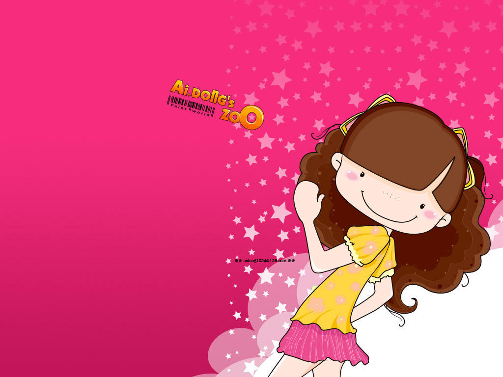 Digital illustration lovely cartoon girls photos 1024 768 no 9