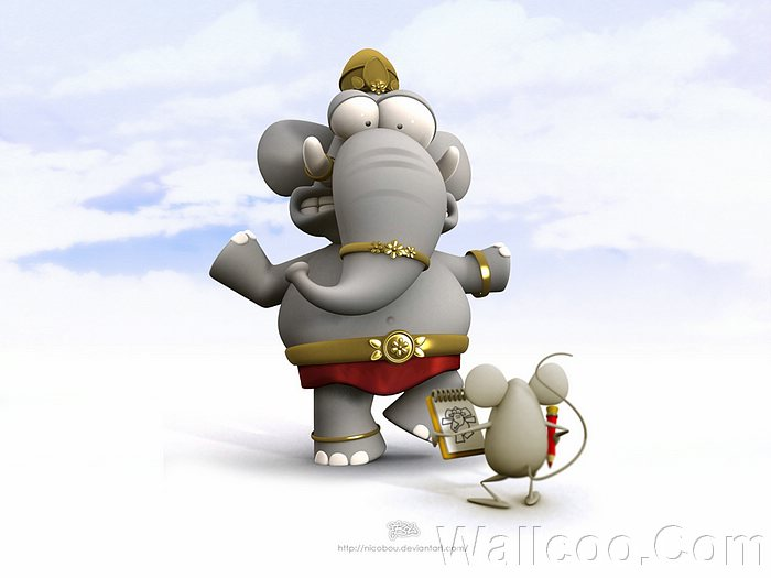 Funny Artwork And Cartoon Characters Elephant Mouse Lovely
