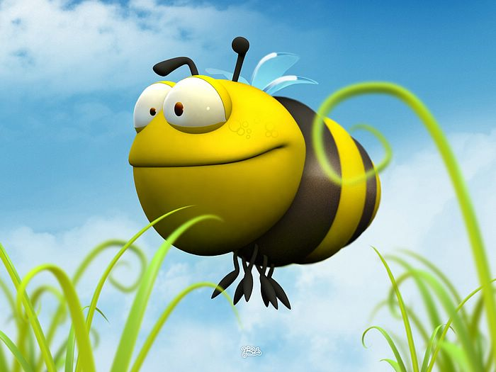 Funny 3D Animal Cartoons - 3D Fat Bee - Funny 3D Cartoon Bee Wallpaper ...