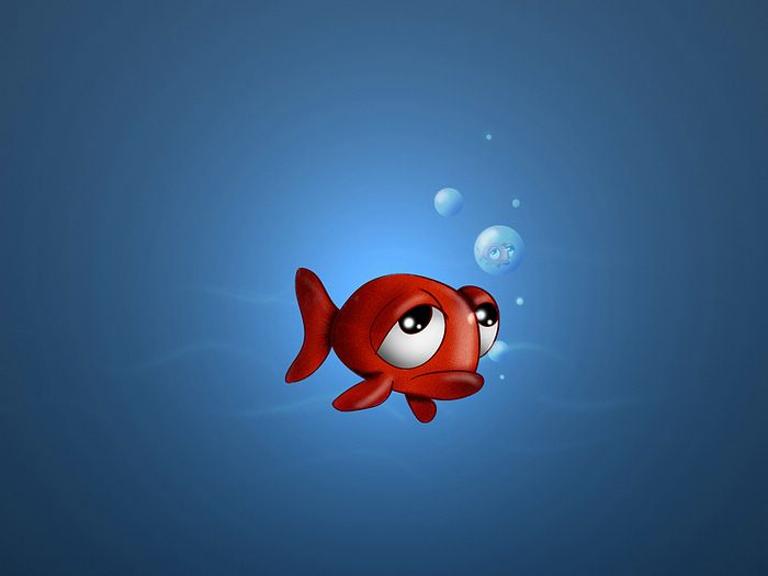 ... 3D Animal Cartoons - Little Red Fish - Funny Cartoon Fish Wallpaper 16