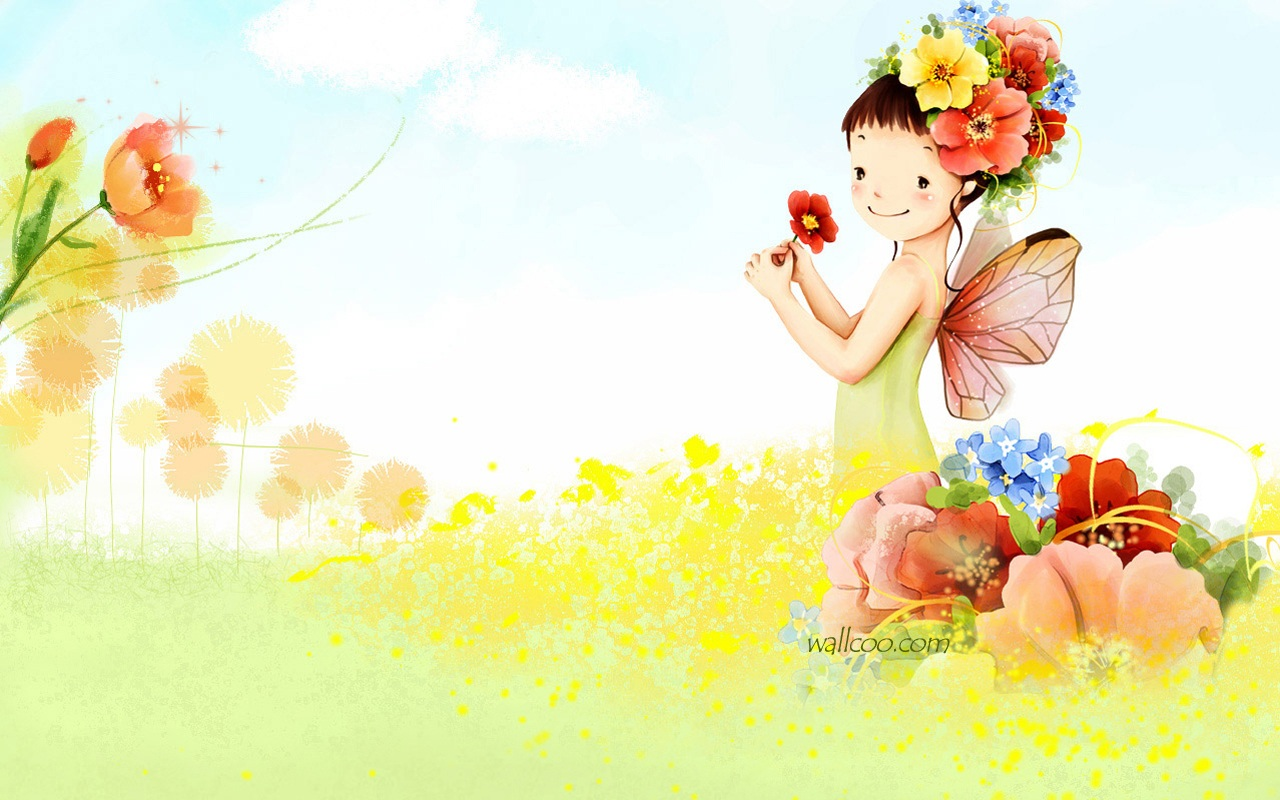 Vol 03 cartoon cute fairy girl 1280 800 no 15 wallpaper
