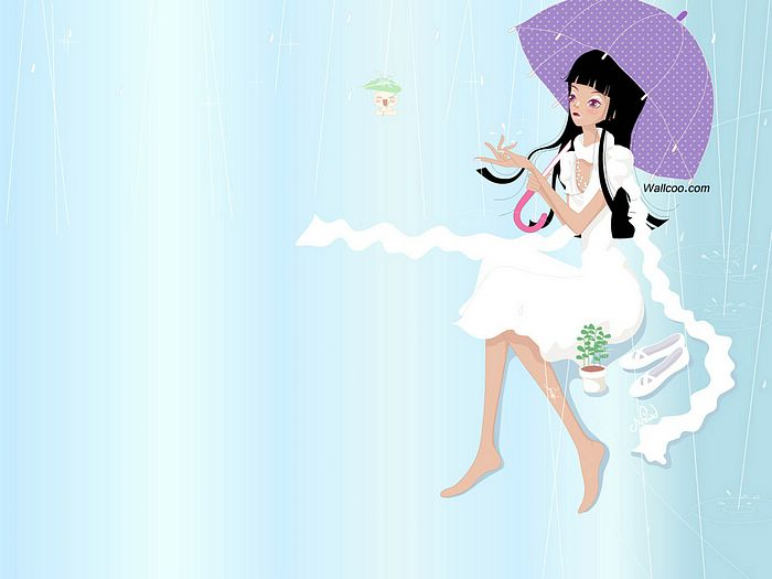 Korean Fashion Teen Girl Illustration Wallpaper 14