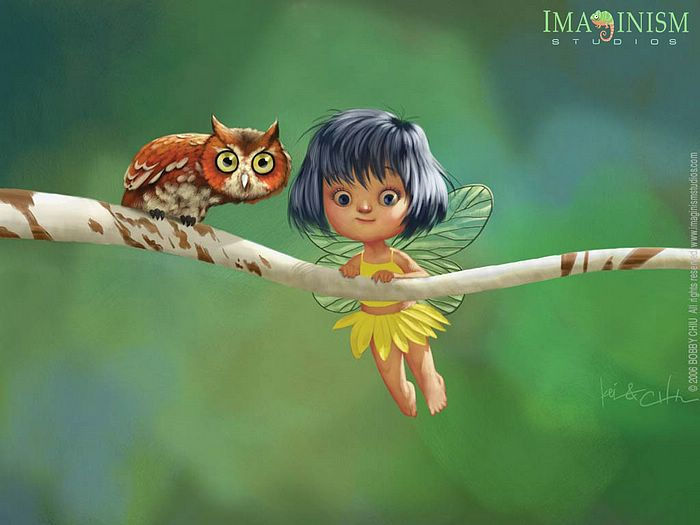 Funny illustration Art by Bobby Chiu - Cute Little Fairy and the Owl ...