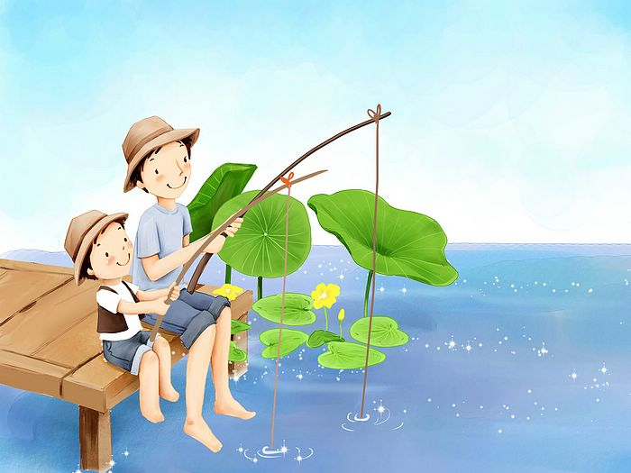 Go fishing with daddy lovely illustration of father 39 s for Where to go fishing
