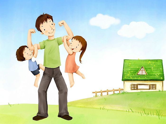 Happy Father's Day - Lovely Children's illustration for Father's Day   - Super Daddy,  Father's Love - Lovely illustration of Father's day 1600*1200  9