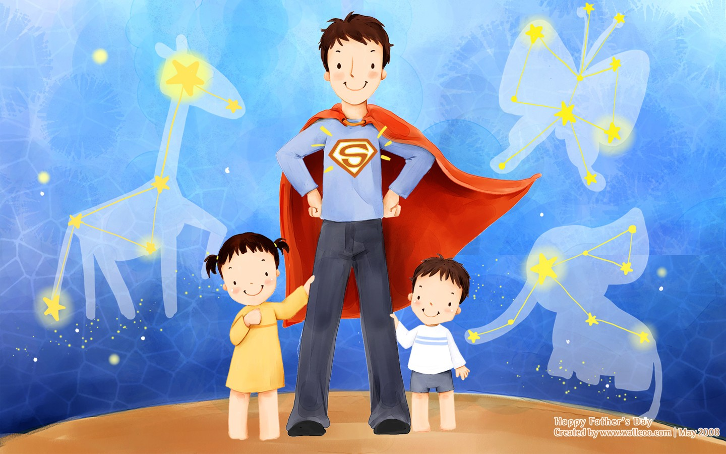 happy father's day - children's illustration for father's day