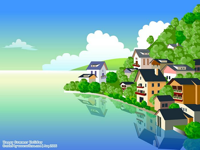 Lakeside House - Vector Summer Scene Wallpaper 25 - Wallcoo.