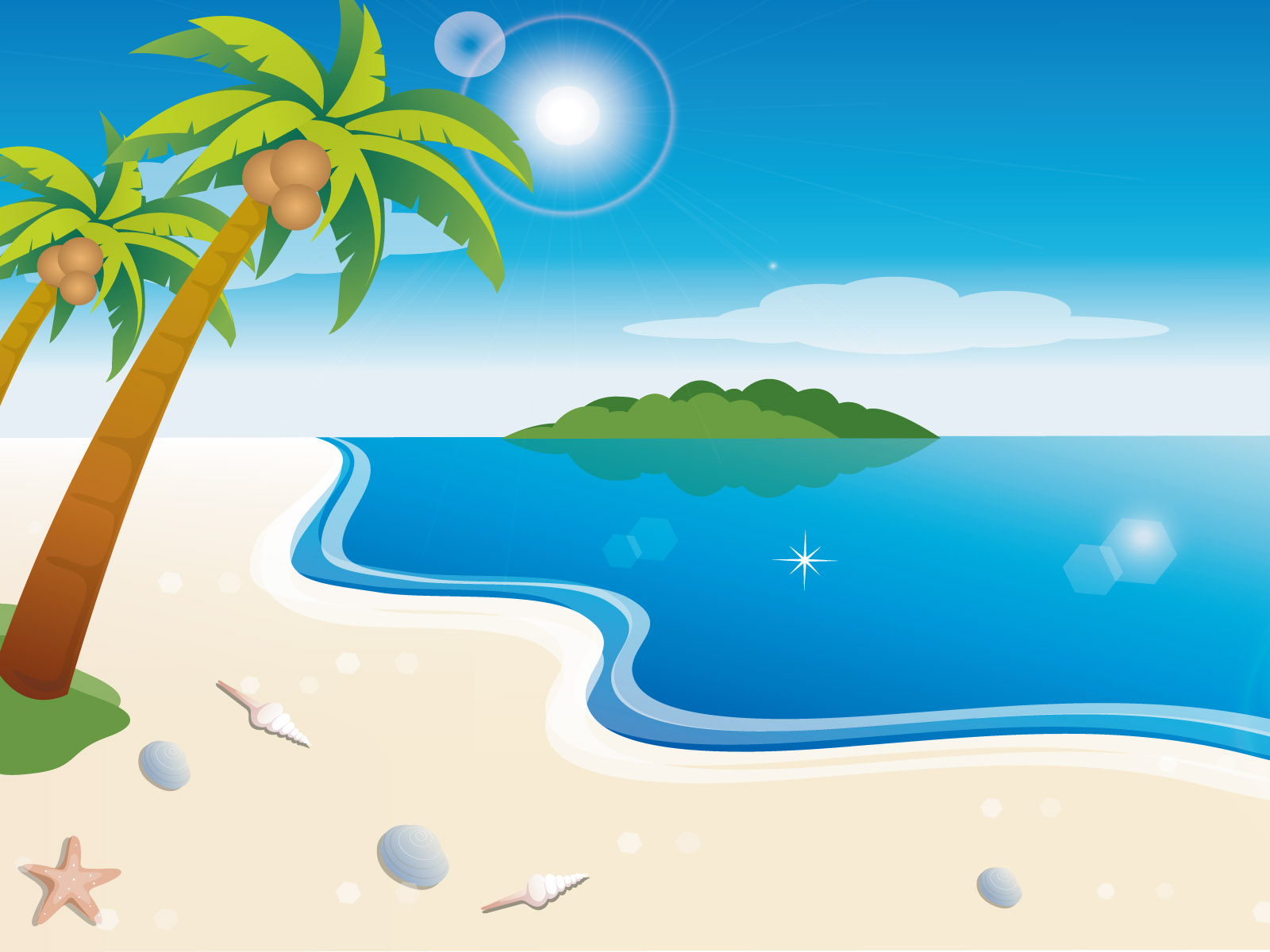 Vector Scenery - Vector Tropical Beach 1600*1200 NO.17 Wallpaper