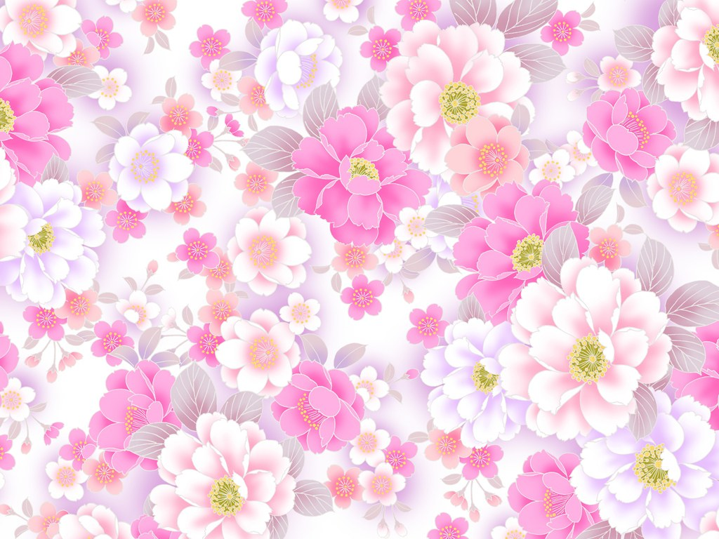 Colors in Japanese Style Sweet Flower Pattern Design Wallpaper 20