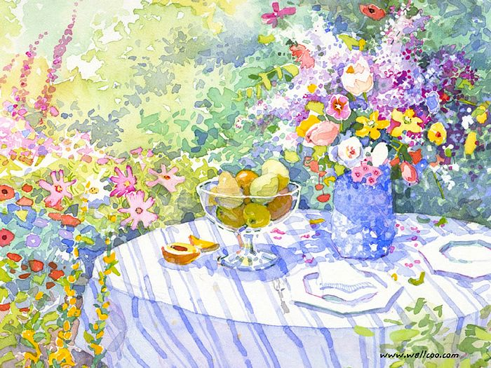 Springtime watercolor spring flowers and afternoon tea for Spring flowers watercolor