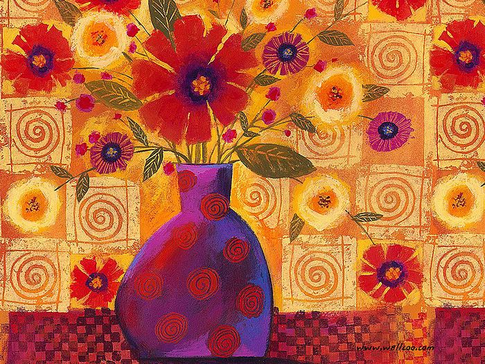 Wallflowers , Bold Red Flowers In Vase 3
