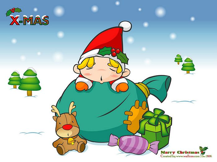 wallpaper funny cartoon. Funny Christmas Illustration