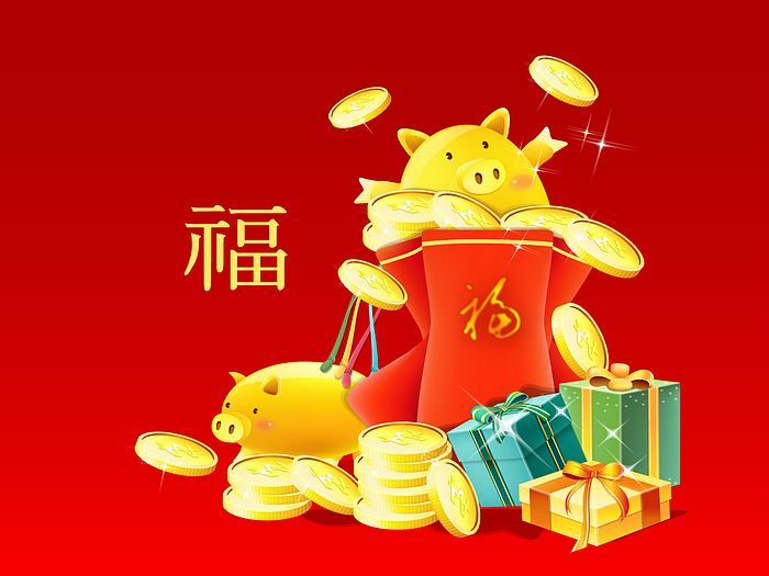 Chinese New Year Wallpapers - Year of Pig - Pigs Cartoon illustration