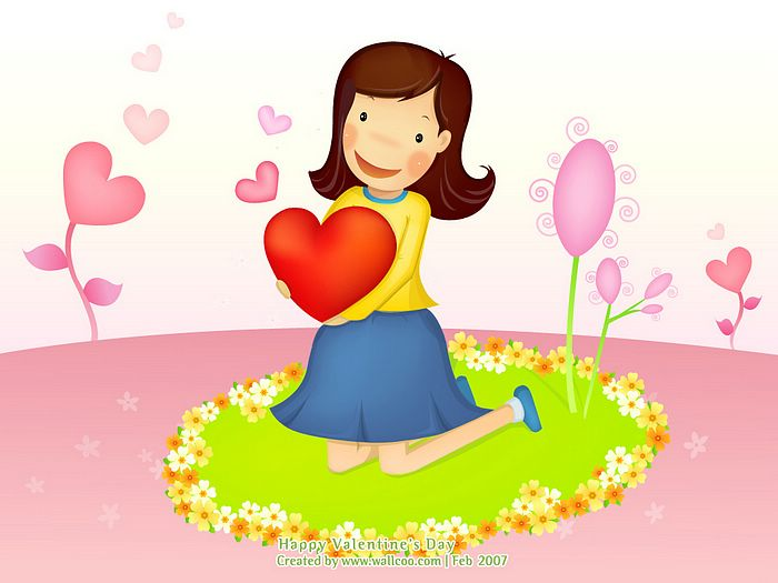Valentine cartoon girl valentine 39 s day vector wallpaper - Cartoon valentine wallpaper ...