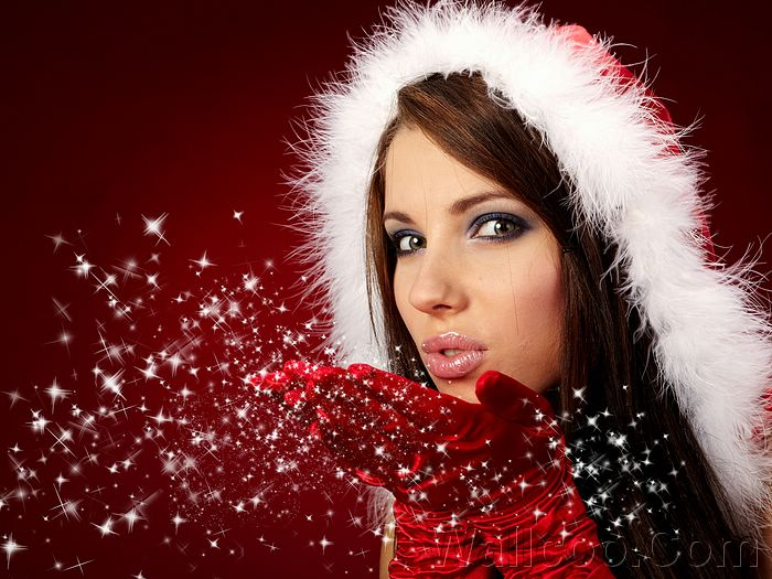 Santa Beauty - Beaufitul Santa Girls in Christmas  - Glamour Santa Girl Photo - Fairylike Santa Girl Wallpaper 22