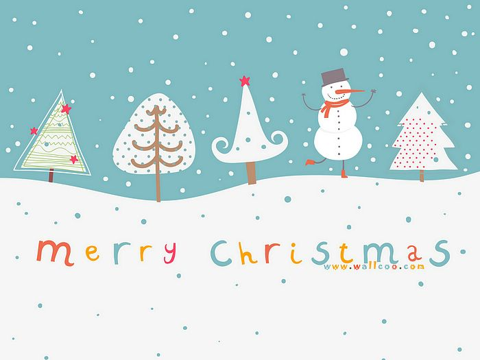 Christmas Illustration Cute Snowman And Christmas Trees