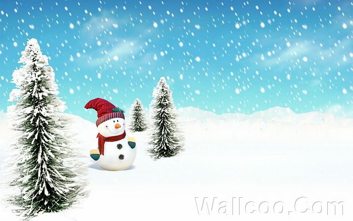 and Paintings - Snowman in winter - Christmas illustration Wallpaper 21