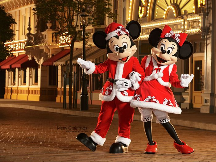 mickey mouse and minnie mouse in new christmas costume. Black Bedroom Furniture Sets. Home Design Ideas
