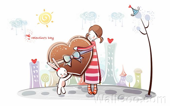 Cartoon Characters Couples : Cute valentine character s day illustrations