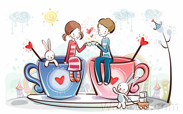 Cute Cartoon Characters In Love. Young Love - Valentine Cute