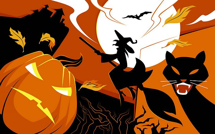 Halloween illustration Wallpaper - Black cat & Jack-o'-lanterns 53 - Wallcoo.net