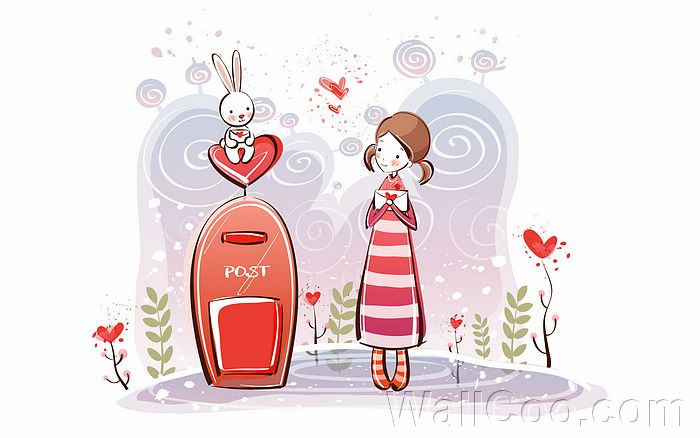 cute cartoon girl characters. Young Love - Valentine Cute