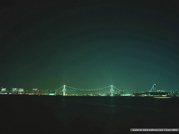 Distant View of Rainbow Bridge at night - Tokyo Bay Rainbow Bridge