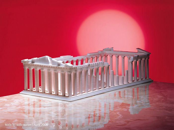 Image gallery model greek parthenon for How to make paper temple