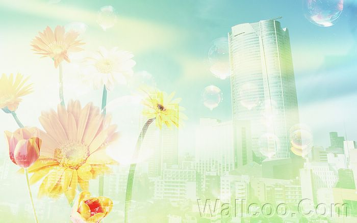 Eco Concept and Photo Manipulation of Environment and Nature - Eco Concept CG - Skyscraper and flowers, dreamy ethereal city8