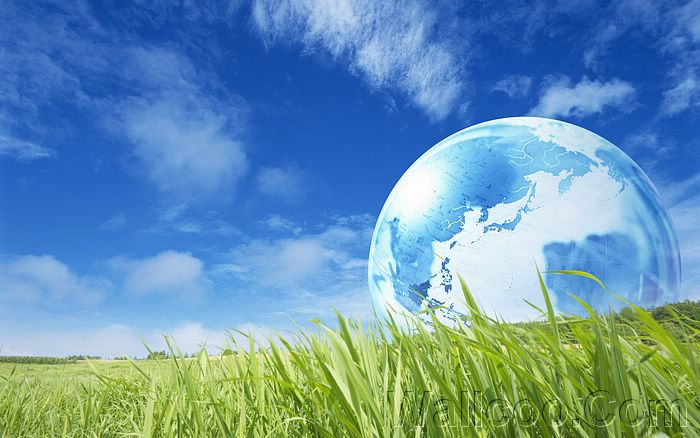 Eco Concept and Photo Manipulation of Environment and Nature - Photo composition - Globe on Grass under blue sky,  Eco Concept10