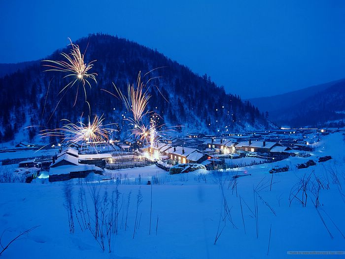 Snowy Village wallpapers - Snow Scene in a Chinese Village2 - Wallcoo.