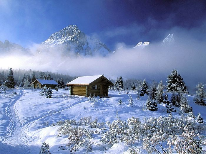 Snow covered house wallpaper - Dreamy Snow Scene wallpaper18