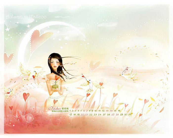Calendar Girl Wallpaper : Amazing october calendar wallpaper wallcoo