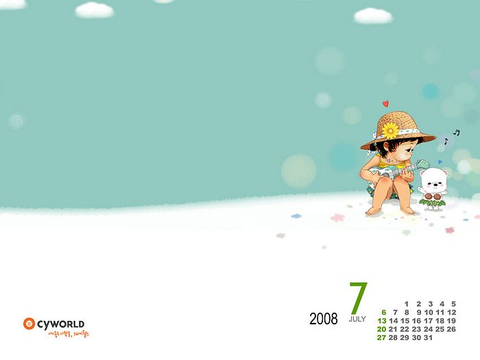 cute wallpaper pics. July 2008 Calendar Wallpapers