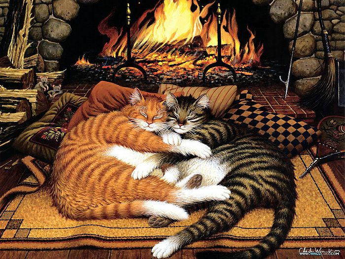 Charles Wysocki : Cat Tales, Amazing Loveable Cat Art  - Cat Tales, Charles Wysocki Cat Painting Wallpaper 10