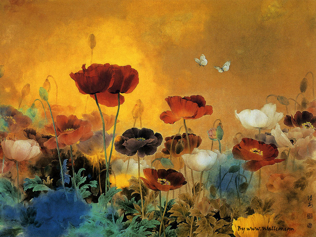 Chinese Paintings : Chinese Gongbi Paintings , Flower-and ...