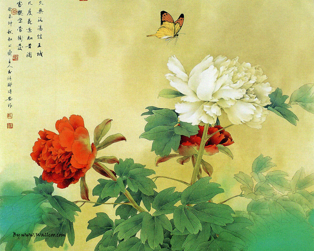Chinese Paintings : Chinese Gongbi Paintings , Flower-and-Bird Painting by Zou Chuan An 1280*1024 NO.2 Wallpaper