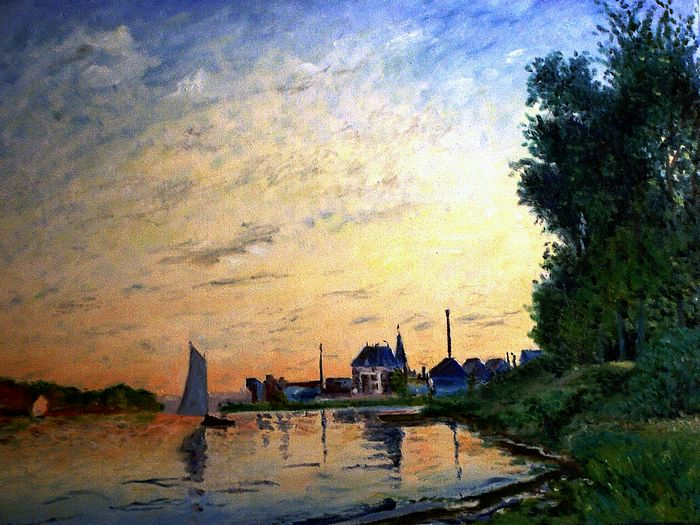 Impressionist painting : Claude Monet Paintings HD Wallpapers  - Claude Monet Painting: Argenteuil, Late Afternoon  , 1600*1200  2
