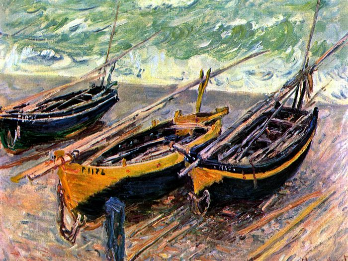 Impressionist painting : Claude Monet Paintings HD Wallpapers  - Claude Monet Painting : Three Fishing Boats, 1885 6