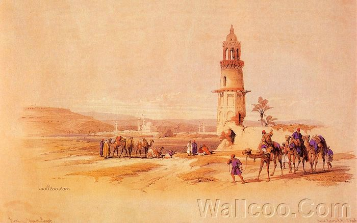 David roberts paintings of ancient eygpt siout 1838 8 for Egyptian mural paintings